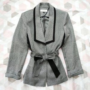 Tahari ASL Belted Crepe Blazer Jacket Size 14